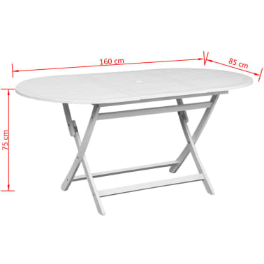 vidaXL Outdoor Dining Table White Acacia Wood Oval[5/5]