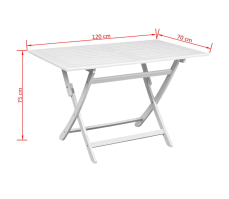 VidaXL Outdoor Dining Table White Acacia Wood Rectangular VidaXLcom - White rectangular outdoor dining table