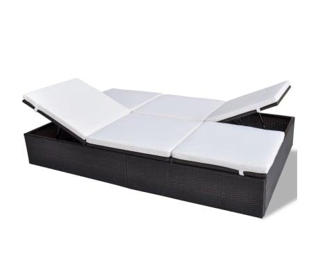 acheter vidaxl chaise longue double et coussin 194x120cm marron r sine tress e pas cher. Black Bedroom Furniture Sets. Home Design Ideas