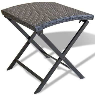 vidaXL Foldable Stool Poly Rattan Black[1/5]