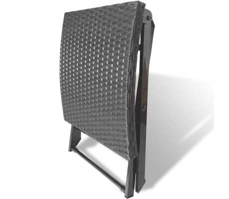 vidaXL Foldable Stool Poly Rattan Black[4/5]