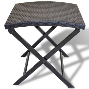 vidaXL Foldable Stool Poly Rattan Black[2/5]