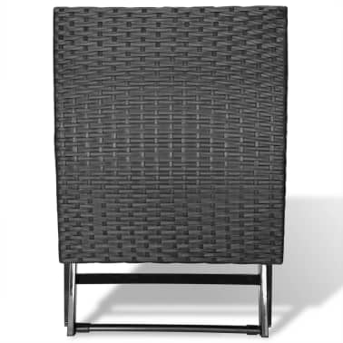 vidaXL Foldable Stool Poly Rattan Black[3/5]