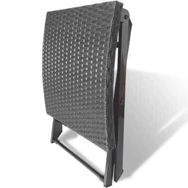vidaXL Foldable Stool Poly Rattan Black[4/5]