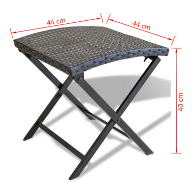 vidaXL Foldable Stool Poly Rattan Black[5/5]