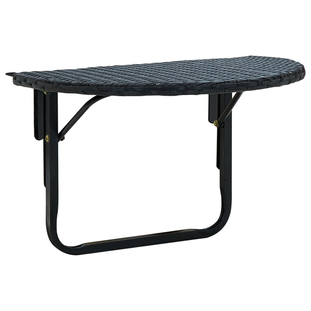 vidaXL Balcony Table Poly Rattan Black