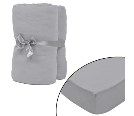 vidaXL Fitted Sheet 2 pcs Cotton Jersey 120x200-130x200 cm Grey