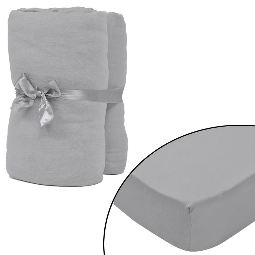 vidaXL Napínací prostěradlo 2 ks bavlněný žerzej 140x200–160x200 cm šedé