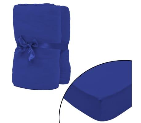 vidaXL Drap-housse 2 pcs Jersey de coton 120x200-130x200 cm Bleu