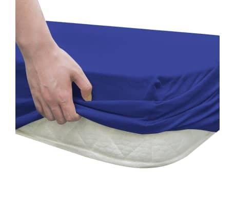 acheter vidaxl drap housse 2 pi ces en coton 160 gsm 120x200 130x200 cm bleu pas cher. Black Bedroom Furniture Sets. Home Design Ideas