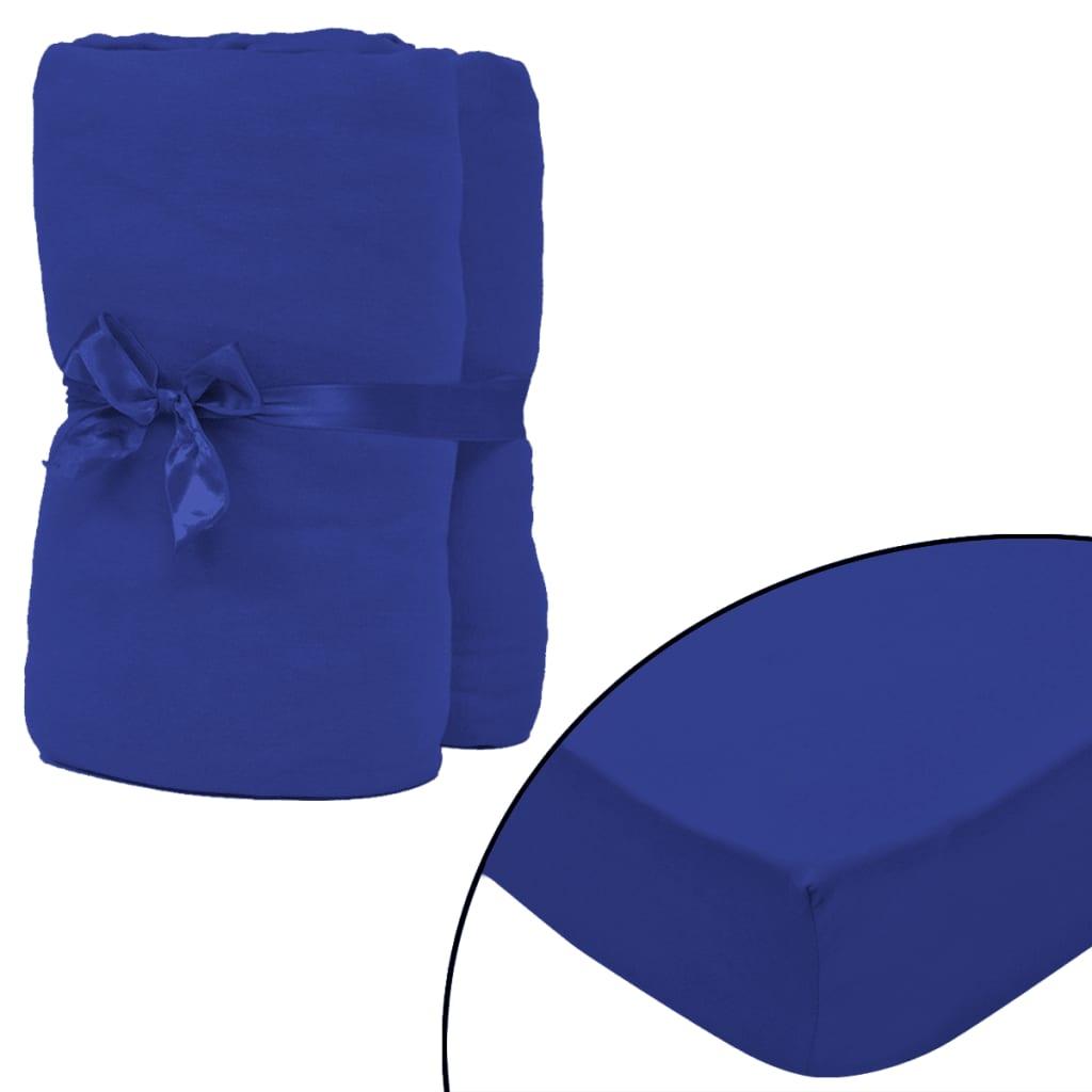 vidaXL Husă saltea bumbac jerseu, 180x200-200x220 cm, albastru, 2 buc. vidaxl.ro