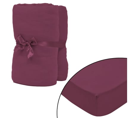 acheter vidaxl drap housse 2 pcs en coton 160 gsm 90x190 100x200 cm bordeaux pas cher. Black Bedroom Furniture Sets. Home Design Ideas