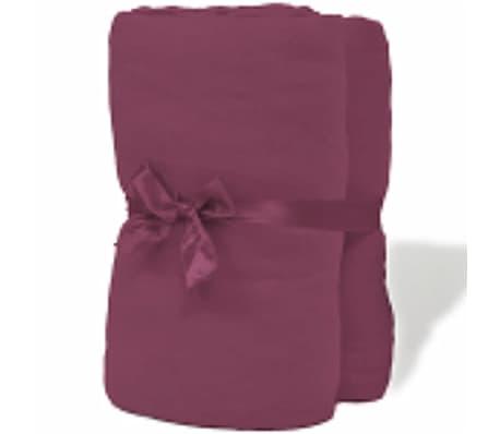 acheter vidaxl drap housse 2 pcs en coton 160 gsm 120x200 130x200 cm bordeaux pas cher. Black Bedroom Furniture Sets. Home Design Ideas