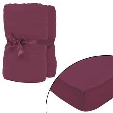 vidaXL Bavlnené plachty na posteľ, 2 ks, 160gsm, 180x200-200x220 cm, vínové[1/4]