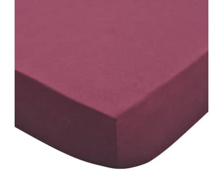 vidaXL Bavlnené plachty na posteľ, 2 ks, 160gsm, 180x200-200x220 cm, vínové[4/4]