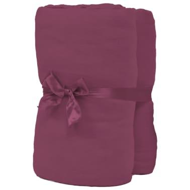 acheter vidaxl drap housse 2 pcs en coton 160 gsm 180x200 200x220cm bordeaux pas cher. Black Bedroom Furniture Sets. Home Design Ideas