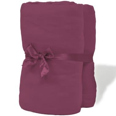 vidaXL Bavlnené plachty na posteľ, 2 ks, 160gsm, 180x200-200x220 cm, vínové[3/4]