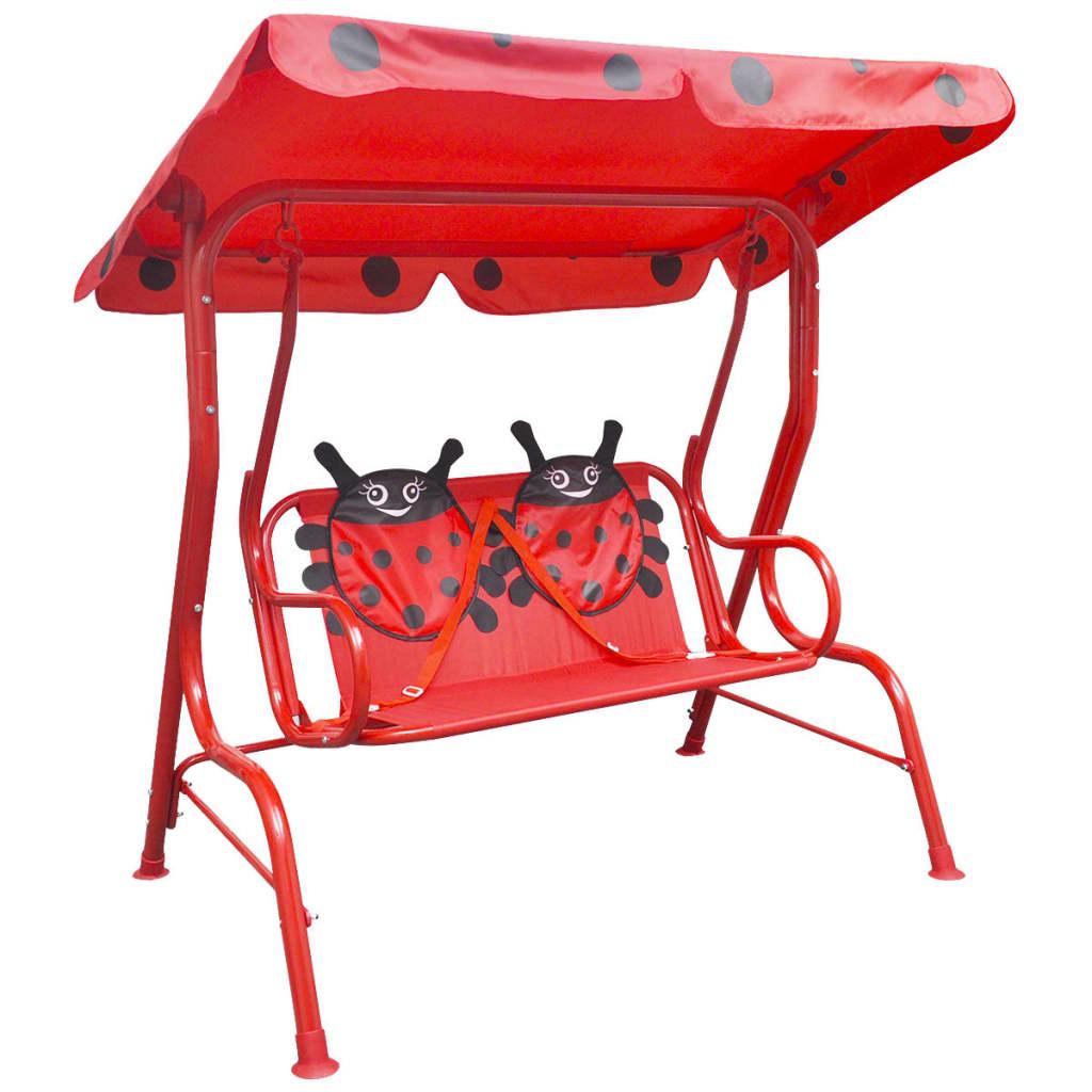 vidaXL Dětská zahradní houpačka červená
