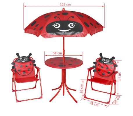 vidaXL Cafébord för barn med parasoll 3 delar röd[6/6]
