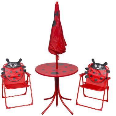 vidaXL Cafébord för barn med parasoll 3 delar röd[2/6]
