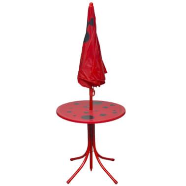 vidaXL Cafébord för barn med parasoll 3 delar röd[3/6]