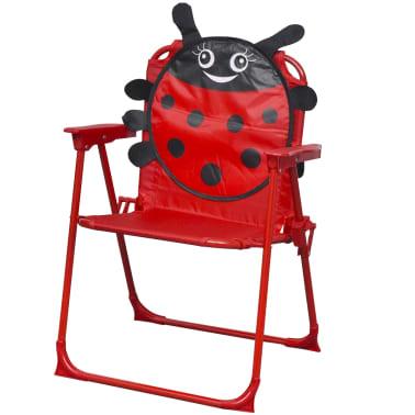 vidaXL Cafébord för barn med parasoll 3 delar röd[4/6]
