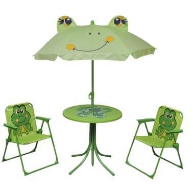 vidaXL Cafébord för barn med parasoll 3 delar grön[1/6]