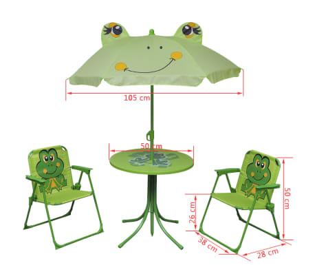 vidaXL Cafébord för barn med parasoll 3 delar grön[6/6]