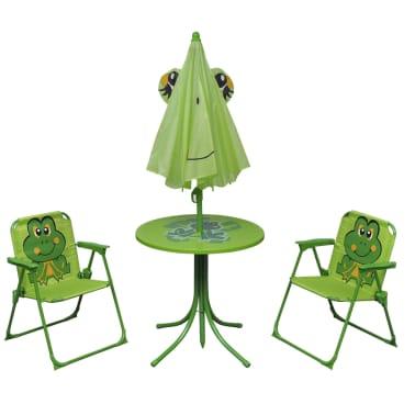 vidaXL Cafébord för barn med parasoll 3 delar grön[2/6]