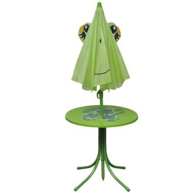 vidaXL Cafébord för barn med parasoll 3 delar grön[3/6]