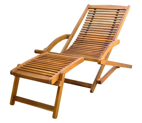 vidaXL Deck Chair with Footrest Solid Acacia Wood