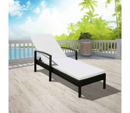 vidaxl sonnenliege mit polster 200 70 cm poly rattan braun g nstig kaufen. Black Bedroom Furniture Sets. Home Design Ideas