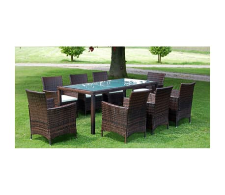 vidaxl garten essgruppe 17 tlg braun poly rattan g nstig kaufen. Black Bedroom Furniture Sets. Home Design Ideas