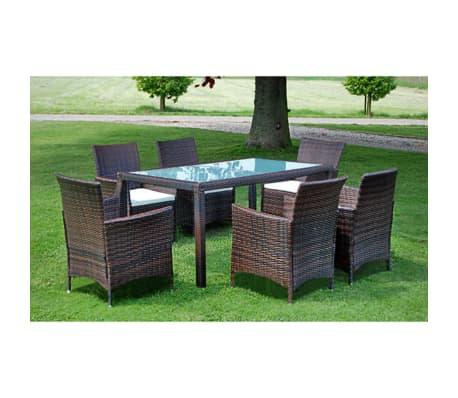 vidaxl garten essgruppe 13 tlg braun poly rattan zum schn ppchenpreis. Black Bedroom Furniture Sets. Home Design Ideas