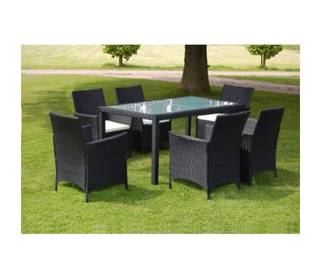 vidaxl garten essgruppe 13 tlg schwarz poly rattan g nstig kaufen. Black Bedroom Furniture Sets. Home Design Ideas