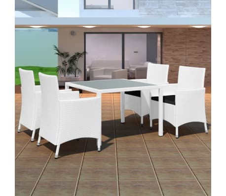 acheter vidaxl mobilier de jardin 9 pcs r sine tress e blanc cr me pas cher. Black Bedroom Furniture Sets. Home Design Ideas