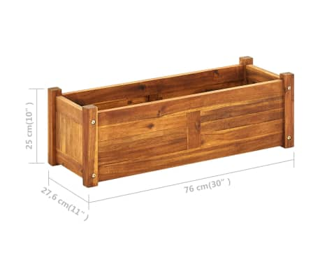 vidaXL Donica ogrodowa, drewno akacjowe, 76x27,6x25 cm[6/6]