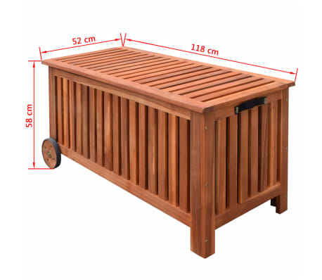 vidaXL Caja de almacenaje de jardín de madera 118x52x58 cm[6/6]