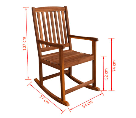 vidaXL Garden Rocking Chair Acacia Wood[6/6]