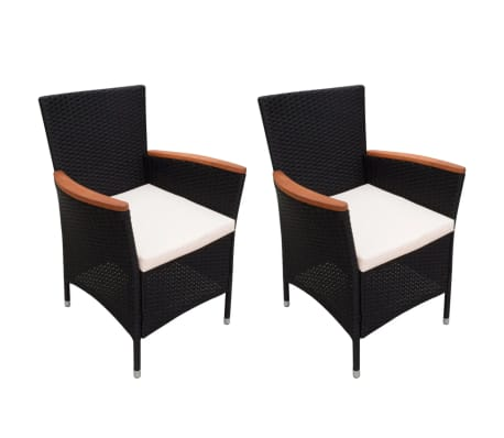 vidaXL Garden Chairs 2 pcs Black Poly Rattan[1/6]