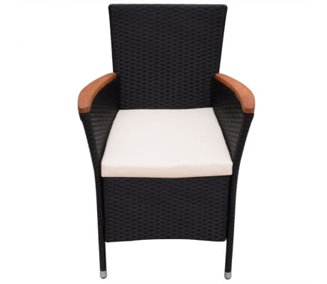 vidaXL Garden Chairs 2 pcs Black Poly Rattan[3/6]
