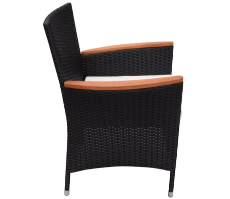 vidaXL Garden Chairs 2 pcs Black Poly Rattan[4/6]