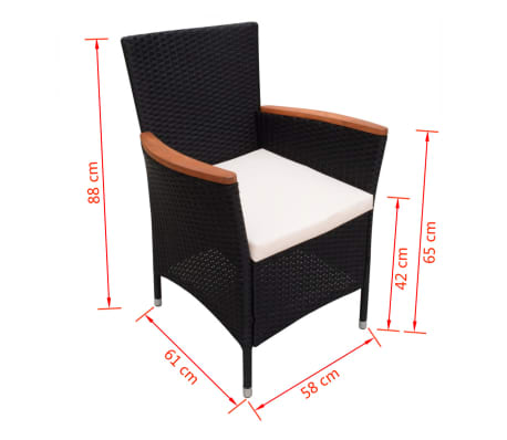 vidaXL Garden Chairs 2 pcs Black Poly Rattan[6/6]