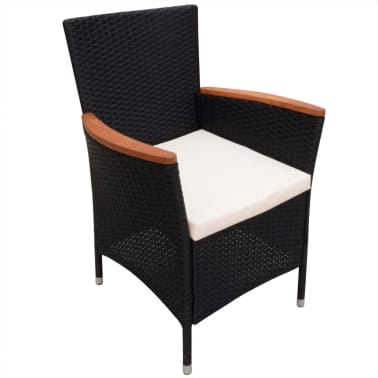 vidaXL Garden Chairs 2 pcs Black Poly Rattan[2/6]