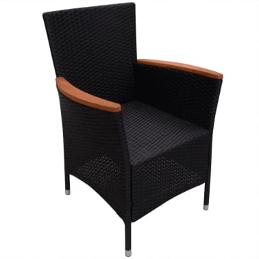 vidaXL Garden Chairs 2 pcs Black Poly Rattan[5/6]