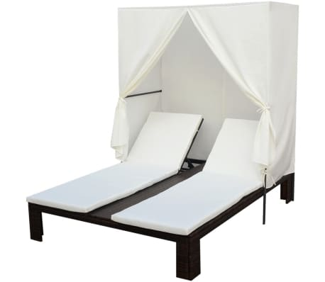 vidaxl double sun lounger with curtain poly rattan brown. Black Bedroom Furniture Sets. Home Design Ideas