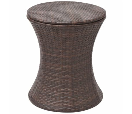 VidaXL Ice Cooler Bucket Table Poly Rattan Brown[4/6]