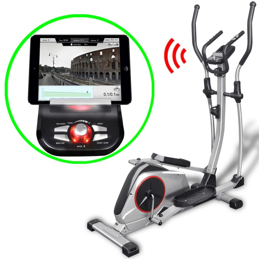 vidaXL Bicicletă eliptică programabilă XL masă rotație 18 kg Smart App vidaxl.ro