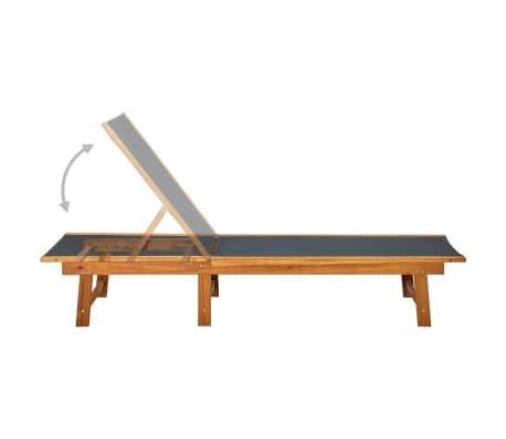 vidaXL Ligbed met tafel massief acaciahout en textileen[5/10]