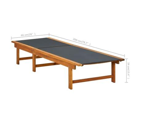 vidaXL Ligbed met tafel massief acaciahout en textileen[10/10]